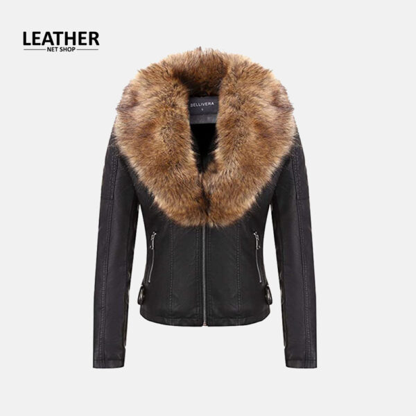 Bellivera Womens Faux Fur Collar Leather Jacket