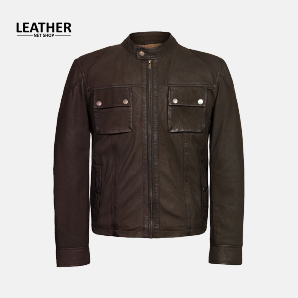 Brown 2 Pockets Style Leather Fashion Jacket